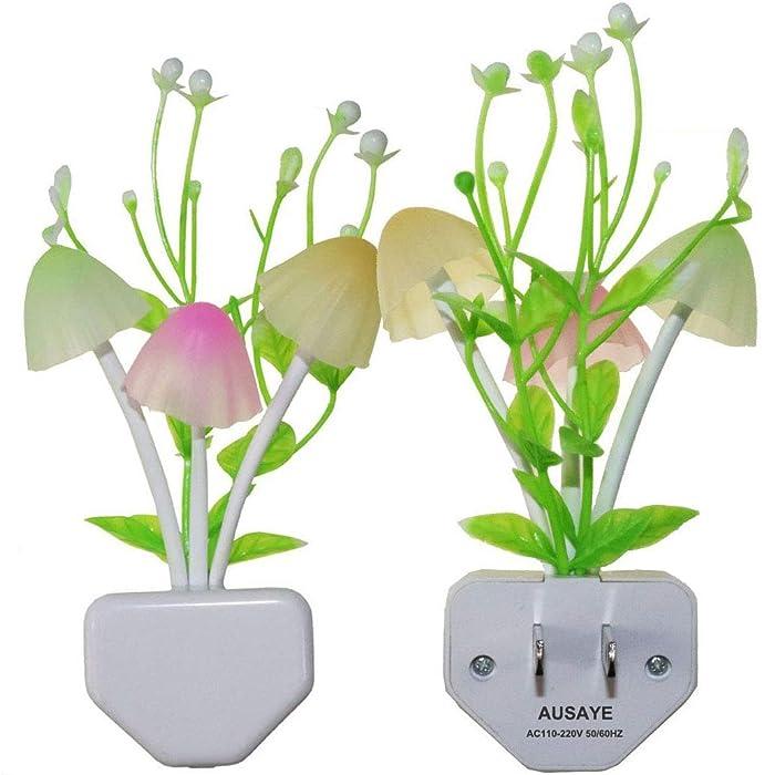 2-Pack Night Lights 7 Color Changing w/Dusk to Dawn Sensor LED NightLight Mushroom Lamp,Ausaye 0.6W Plug-in LED Night Light Lamp Auto On/off Night Light for Kids Children Baby Adults