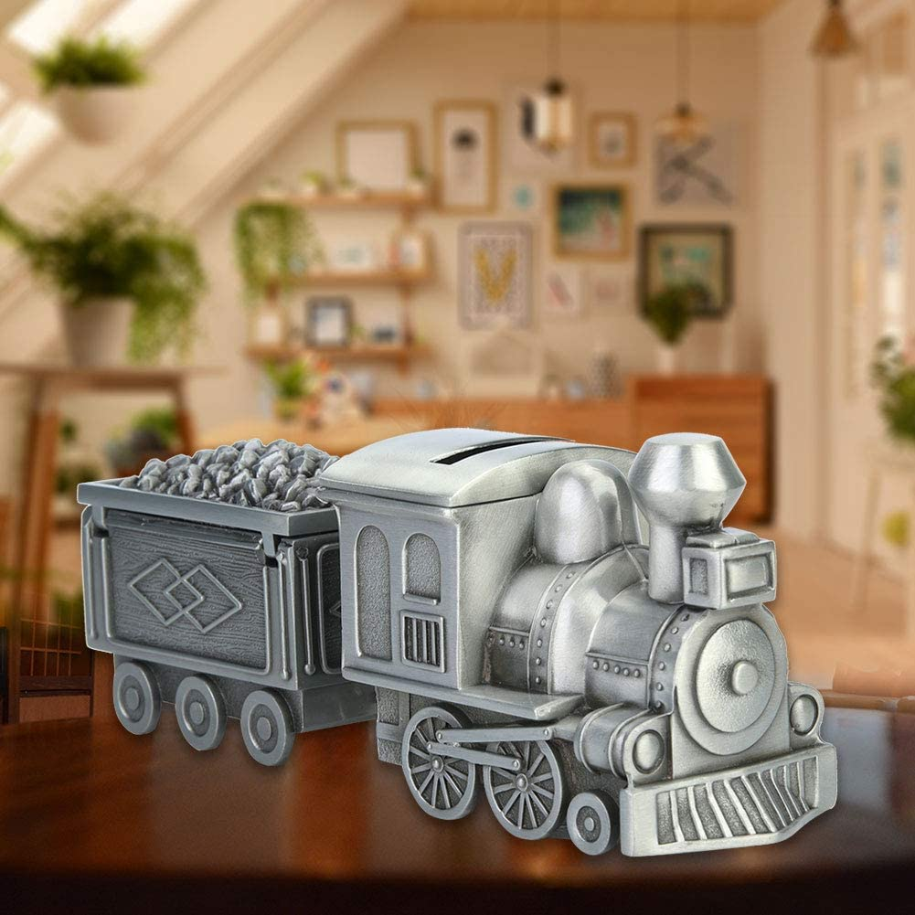 Coin Saving Train Children Money Saving Bank Retro Train Model Coin Saving Money Box for Table Decoration Great Gift for Children