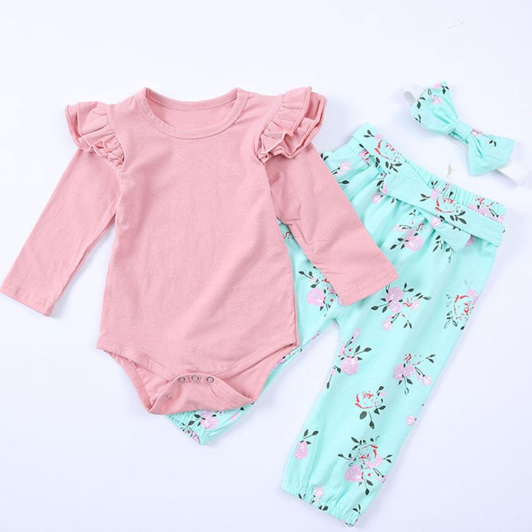 Gotd Infant Toddler Baby Girl Clothes Long Sleeve Romper Tops+Floral Pants Headband Winter Outfits Christmas Spring (0-6 Months, Pink) Goodtrade8