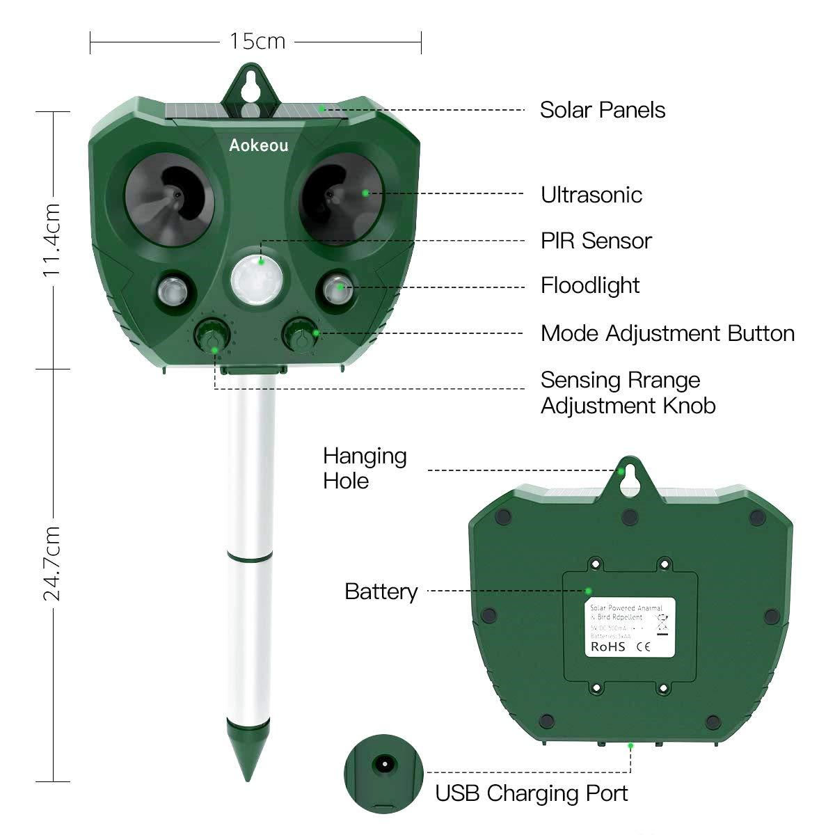 Charge Solaire et USB Aokeou R/épulsif Ultrason Capteur Infrarouge et 5 Modes Haute Performance