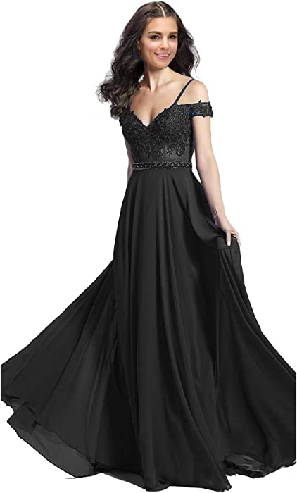 cd4d9811d73 ... Beaded Chiffon Evening Formal Ball Gown GD38. Lily Wedding Womens Long Off  Shoulder Prom Dress 2019 Chiffon Aline Bridesmaid Evening Formal Dress Size