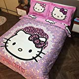 Kids Bedding Set 100% Natural Cotton Girls Bed in a Bag Hello Kitty,Duvet/Comforter Cover and Pillowcase and Fitted Sheet and Comforter,Queen Size,5 Piece