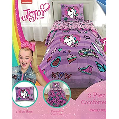 Nickelodeon JoJo Siwa 6pc Full Bedding Collection with Comforter, Sheet Set (Fitted and Flat Sheets), Sham and Pillowcases, Purple and Pink: Home & Kitchen
