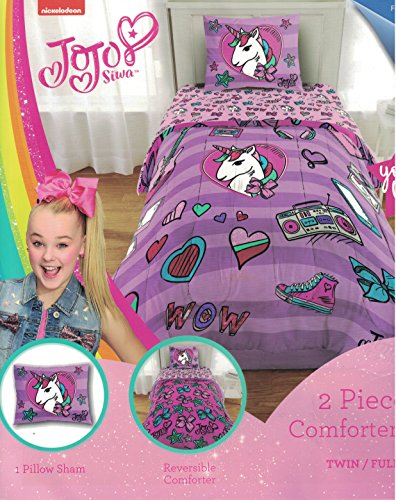 Nickelodeon JoJo Siwa 6pc Full Bedding Collection with Comforter, Sheet Set (Fitted and Flat Sheets), Sham and Pillowcases, Purple and Pink by Nickelodeon