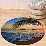 VROSELV Custom carpetHawaiian Decor Pacific Sunrise At Lanikai Beach Hawaii Colorful Sky Wavy Ocean Surface Scene Dorm for Bedroom Living Room Orange and Blue Round 72 inches