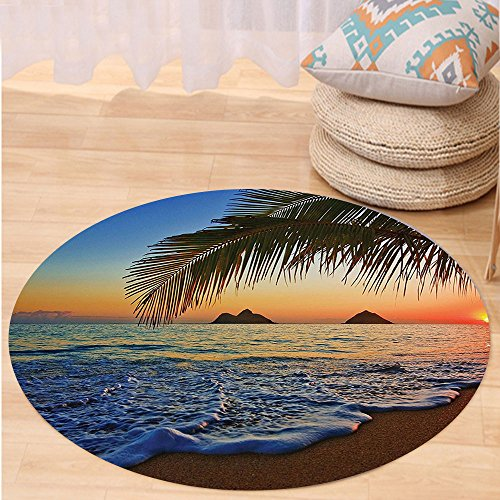 VROSELV Custom carpetHawaiian Decor Pacific Sunrise At Lanikai Beach Hawaii Colorful Sky Wavy Ocean Surface Scene Dorm for Bedroom Living Room Orange and Blue Round 72 inches by VROSELV