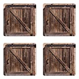 Ambesonne Rustic Coaster Set of Four, Aged Wooden Sliding Barn Door with Vintage Texture Architectural Farm House Print, Square Hardboard Gloss Coasters for Drinks, Brown Beige