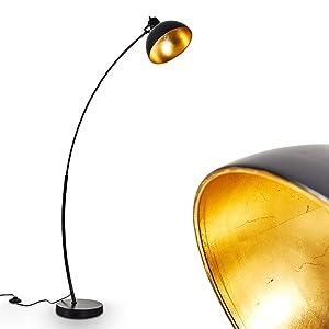 Lampadaire vintage en métal doré/noir - Lampe d'intérieur pour chambre, salon, salle à manger - Lampadaire rétro avec grand abat-jour rond et interrupteur au pied