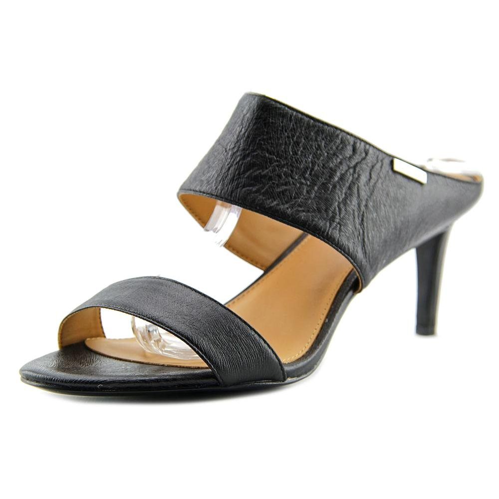 Calvin Klein Women's CECILY Open Toe Special Occasion Leather Slide Sandals (7.5 B(M) US, Black) by Calvin Klein
