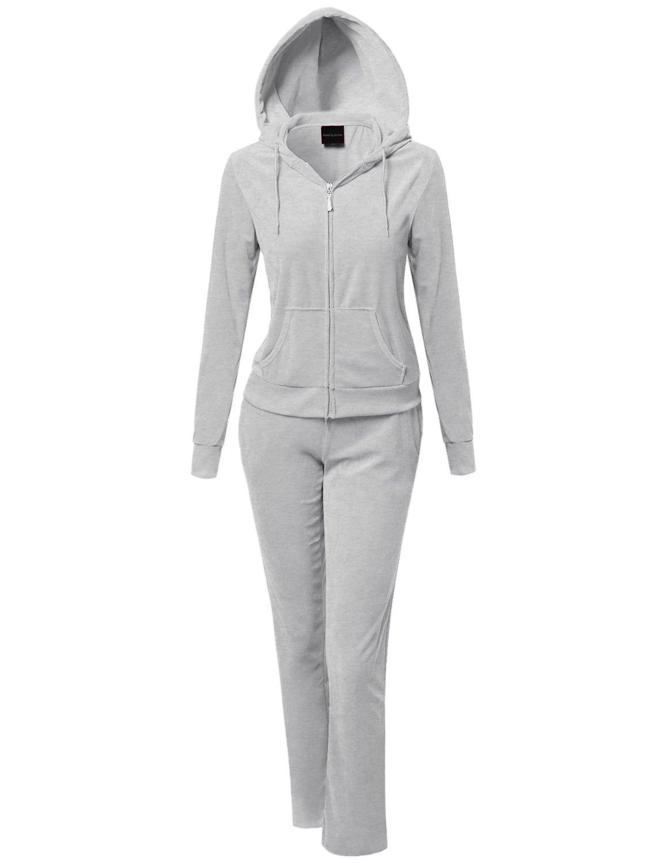 Solid Soft Velour Zip-Up Hoodie Workout Sweatpants Set Heather Grey L
