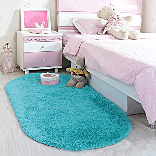 BLUE Shaggy Rug Soft Children Room Mat Modern Area Home Deco