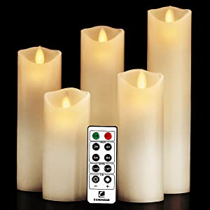 """comenzar Flameless Candles, Battery Candles Set (H 5"""" 6"""" 7"""" 8"""" 9"""" x D 2.2"""") Real Wax Pillar Led Candles with Remote Timer (Ivory White)"""