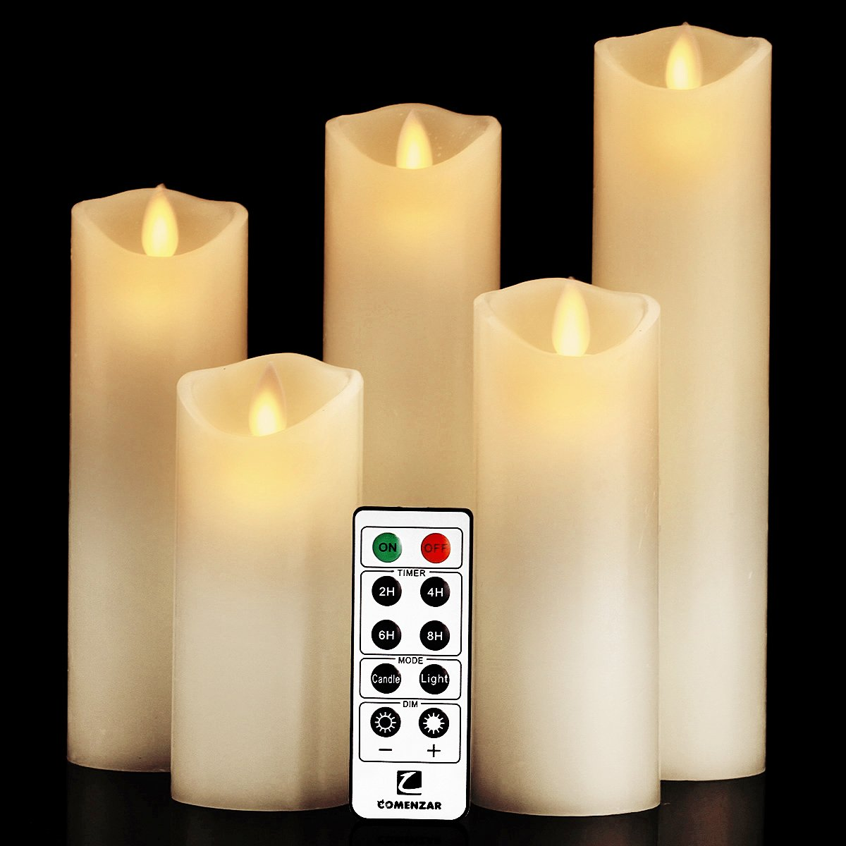 comenzar Flameless Candles, Battery Candles Set (H 5'' 6'' 7'' 8'' 9'' x D 2.2'') Real Wax Pillar Led Candles with Remote Timer (Ivory White)