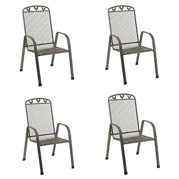 Stapelstühle Toulouse 4Stück Streckmetall Gartenstühle Stapelstuhl  Gartenmöbel