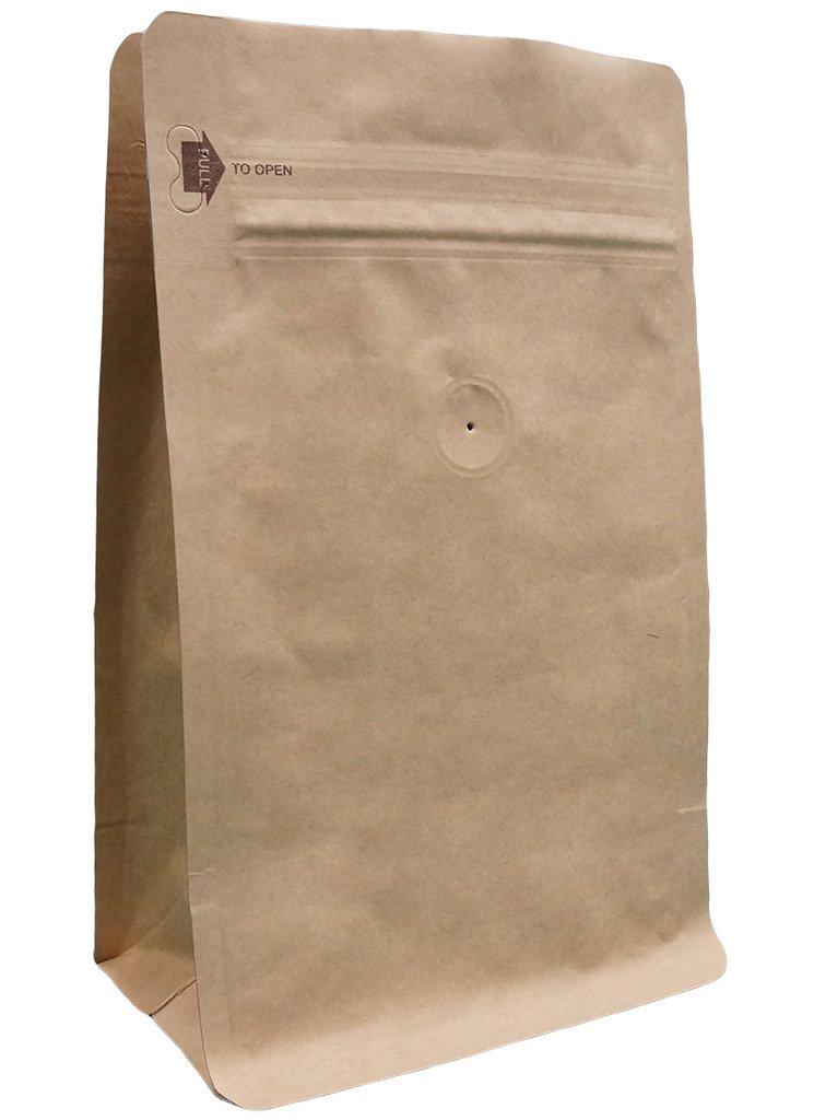 12 oz. Kraft Paper/Foil Square Bottom Gusseted Bag w/ E-Zip & Valve (Block Bottom Bag, Flat Bottom Bag) by Stockbagdepot