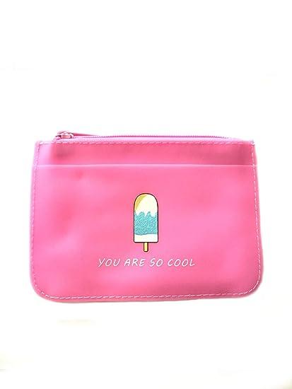 Monedero de goma con cremallera, color rosa: Amazon.es: Belleza