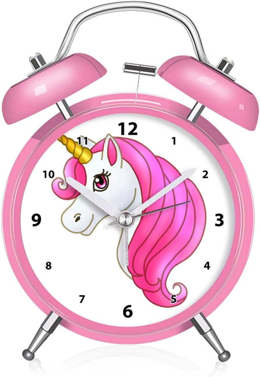 Pink QCNZ1 Unicorn Alarm Clock for Girls for Kids and Teen Loud Bell and Button Night Light for bedrooms Decor 026.Cute Kawaii Unicorn with Light Pink Mane dial