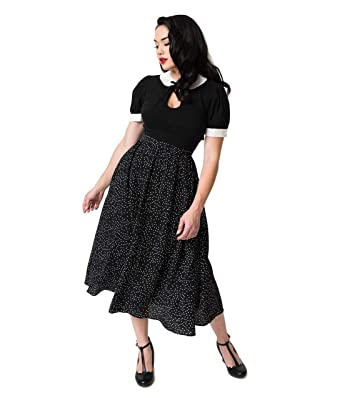 c31db48fac Image Unavailable. Image not available for. Color: Vintage Style Black &  White Pin Dot Crepe High Waist Midi Skirt