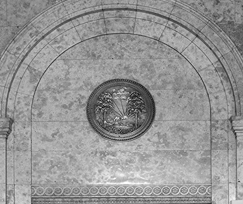 24 x 36 B&W Giclee Print of Medallion at the Texarkana U.S. Post Office and Federal Building 2013 Highsmith 02a