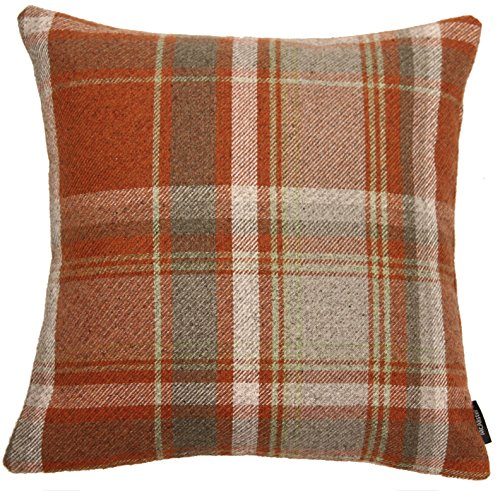 McAlister Heritage Extra Large Pillow Cover / Euro Sham | Wool-Textured Flannel Plaid Check Cushion Case | 24x24
