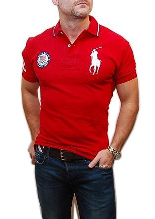 Polo Ralph Lauren Mens Big Pony USA Olympic Shirt Red White Navy London  Small
