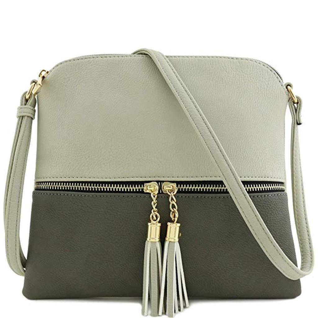 PENGYGY Fashion Women Leather Tassel Crossbody Bag Hit Color Shoulder Bags Messenger Bag