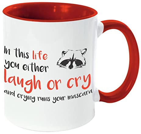 "Rikki Knight ""Life Laugh or Cry Mascara-Funny Quotes Red Handle and Inside"