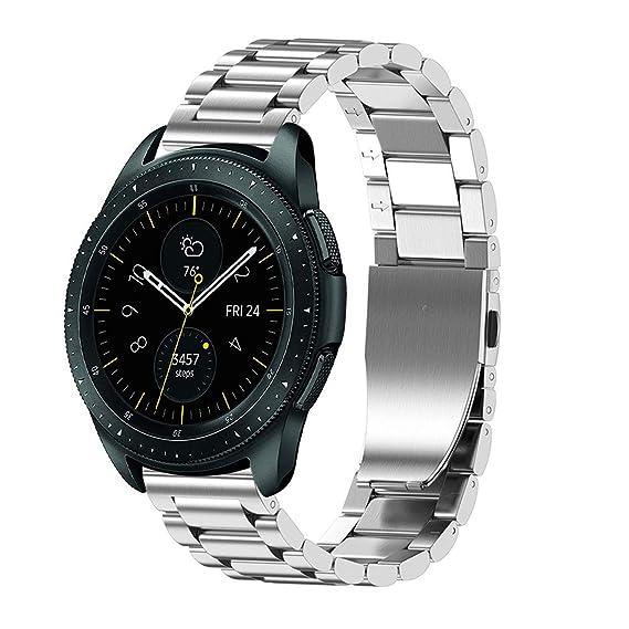 Hombre Mujer Reloj Correa De Reemplazo De Pulsera De Acero Inoxidable De Lujo para Samsung Galaxy Watch 46Mm: Amazon.es: Relojes