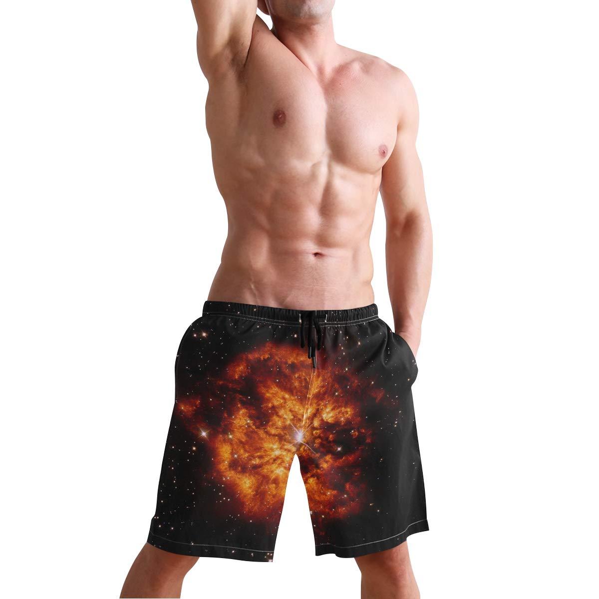 Mens Beach Swim Trunks Nebula Star Field Boxer Swimsuit Underwear Board Shorts with Pocket