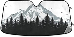 Blueangle Front Windshield Sun Shade - Accordion Folding Auto Sunshade for Car Truck SUV - Keep Your Vehicle Cool- 55 x 27.6 Inch (Nature Mountains And Forest)