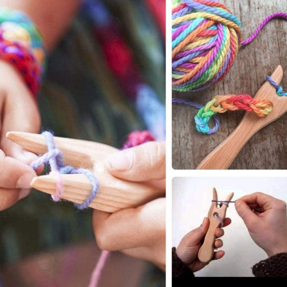 Fourchette /à tricoter fourchette /à tricoter en bois et grand oeil aiguille ensemble cordon en bois faisant coupe /à la main Lucet fourche bricolage outils de tissage pour Bracelet collier outils tress