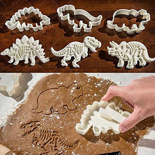 [LOHOME Dinosaur Fossil Cookie Making Molds / Stamps - Set of 3-pieces PVC Cream Chocolate Decoration Molds - DIY Baking Mould for Fondant Cake / Biscuit / Play Doh] (Animals That Starts With Letter E)