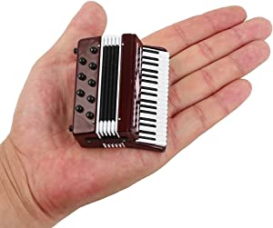 """Seawoo Dselvgvu Miniature Accordion with Case Mini Musical Instrument Replica Collectible Miniature Dollhouse Model Home Decoration (Red, 2.76""""x2.36""""x1.18"""")"""