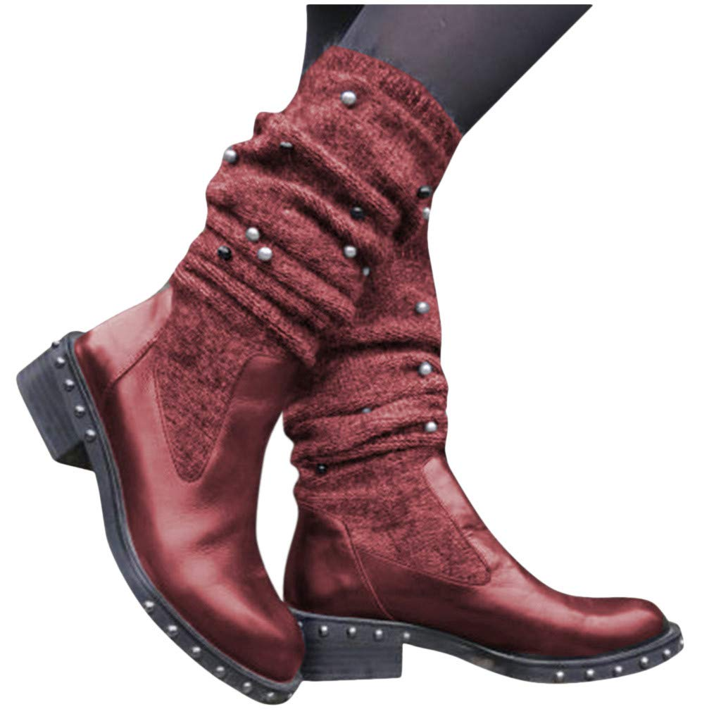 Boots for Women Fashion Slip-On Leather Stacked Low Heel Riding Boots Pearl Warm Combat Boots Mid Warterproof (US:6.5-7, Red) by Dasuy