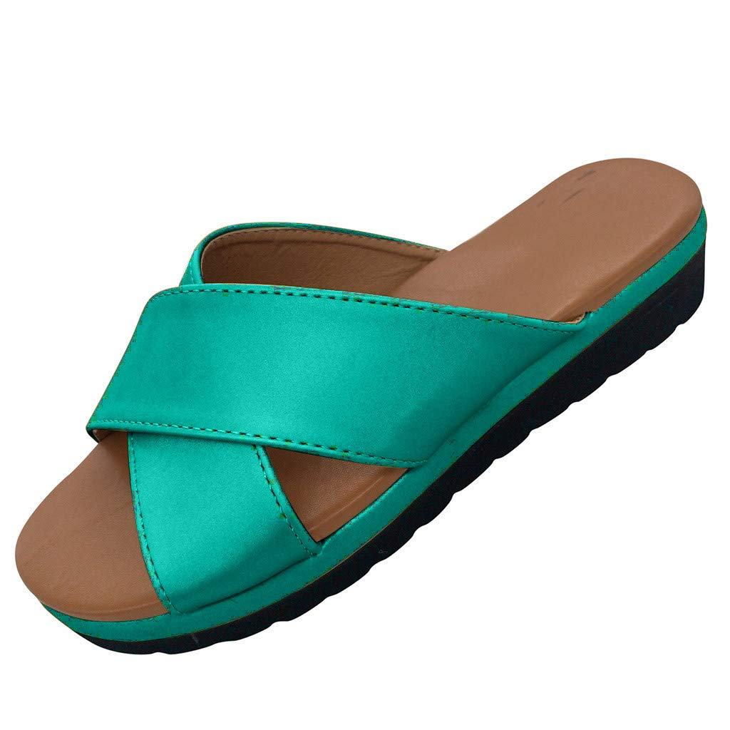 Haalife◕‿Platform Sandals for Women Espadrille Slide Sandals Casual Slip On Flat Summer Beach Casual Shoes Green