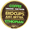 EKOCUPS Organic Artisan Coffee, Ethiopian, Medium roast for Keurig K-cup single serve Brewers, Each 0.45 Oz, Net Wt. 4.5 Oz, 10 count