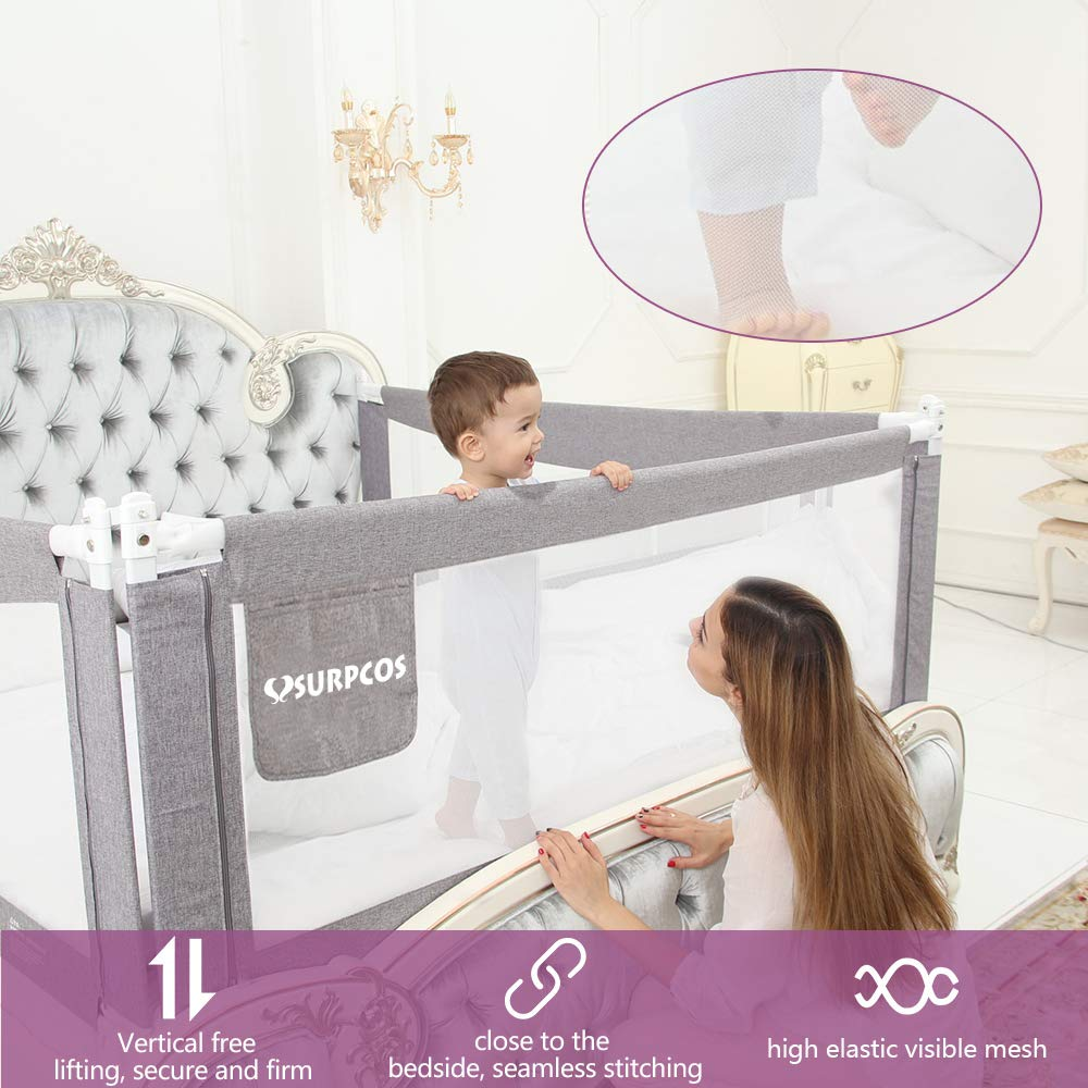 SURPCOS 70'' Bed Rails for Toddlers - Extra Long Baby Bed Rail Guard for Kids Twin, Double, Full Size Queen & King Mattress [1-Side] (Gray) by SURPCOS (Image #9)