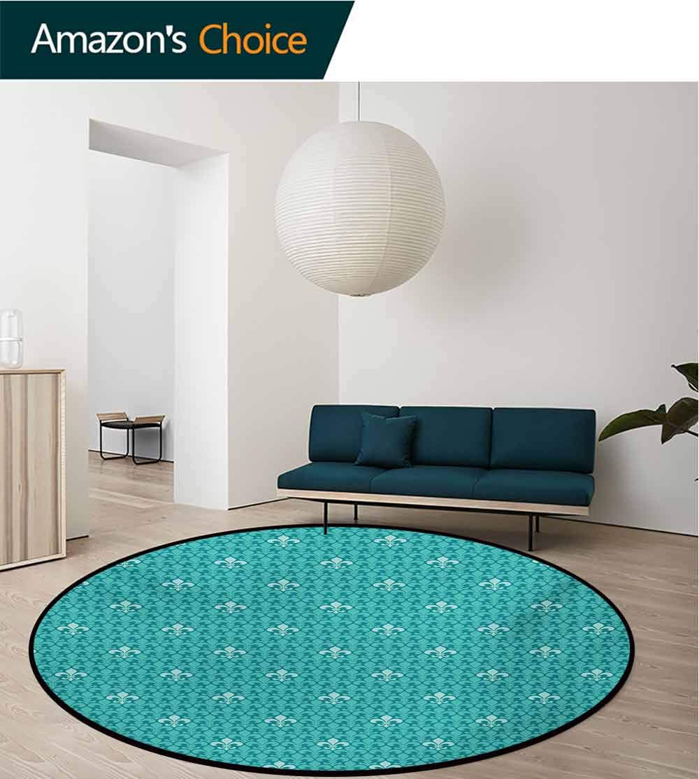 RUGSMAT Fleur De Lis Area Rugs Ring 3D Non-Slip Rug,Monochrome Medieval Motifs Pattern French Royal Lily Victorian Living Room,Bedroom,Desk/Chair Mats,Round,Diameter-71 Inch Turquoise and Pale Blue