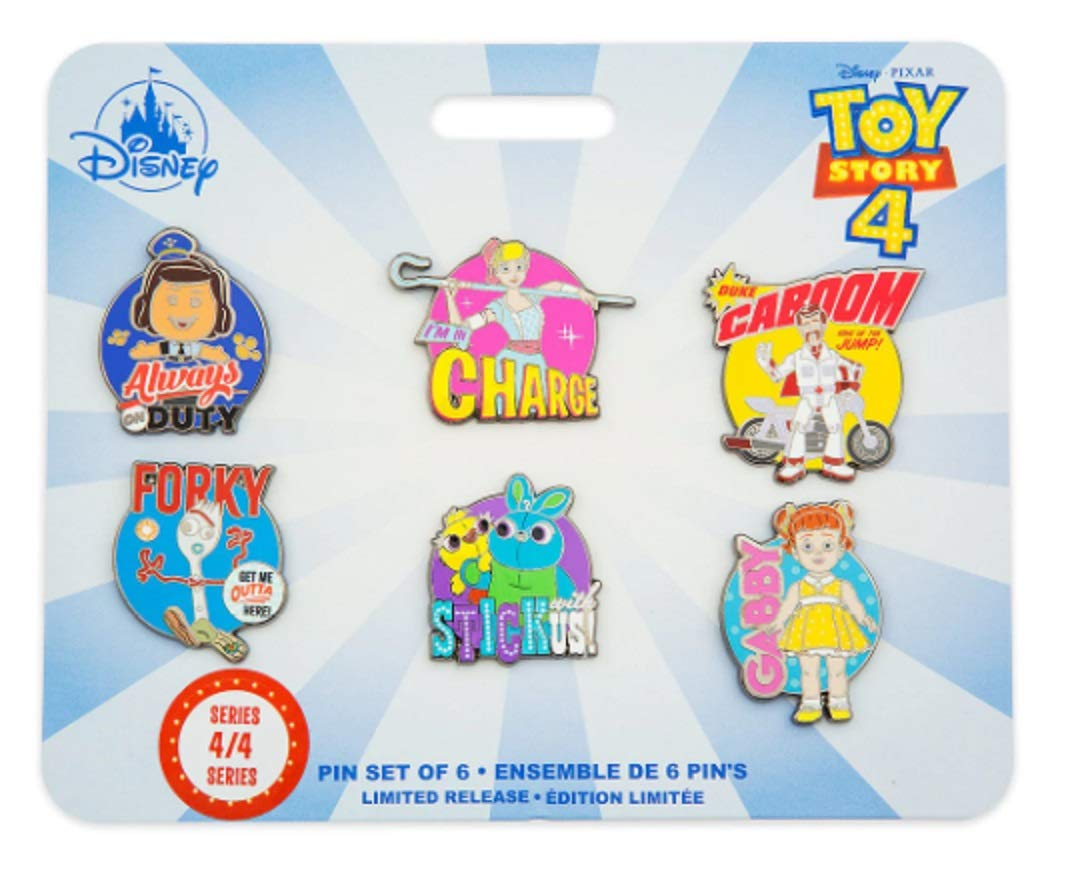 Toy Story 4 Pin set of 6 - Series 4 of 4 - Giggles, Bo Peep, Duke Caboom, Forky, Ducky & Bunny, and Gabby