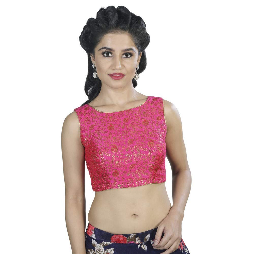 Pink Designer Indian Traditional Brocade Silk Padded Sleeveless Saree Blouse Choli (X488.As) Multiple colors Available