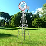 World Pride Windmill Ornamental Metal Wind Wheel Gray and Red Garden Weather Vane Rust-Resistant 8FT