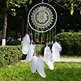 Ricdecor Dream catcher handmade traditional white feather dream catcher wall hanging car hanging decoration ornament Dia 6.5″ (White Lace)