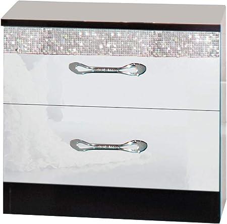 LIGNEUBLE Glamour Lacado Negro y Blanco Dormitorio diseño: el Conjunto con el Armario de 4 Puertas + la Cama 160 + los 2 caballetes + la cómoda + el Espejo