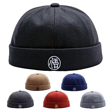 YAMEE Men Women Hats Skullcap Beanie Worker Sailor Cap Worker Hat Hip Hop  Rolled Cuff Retro 09bd80c1b145