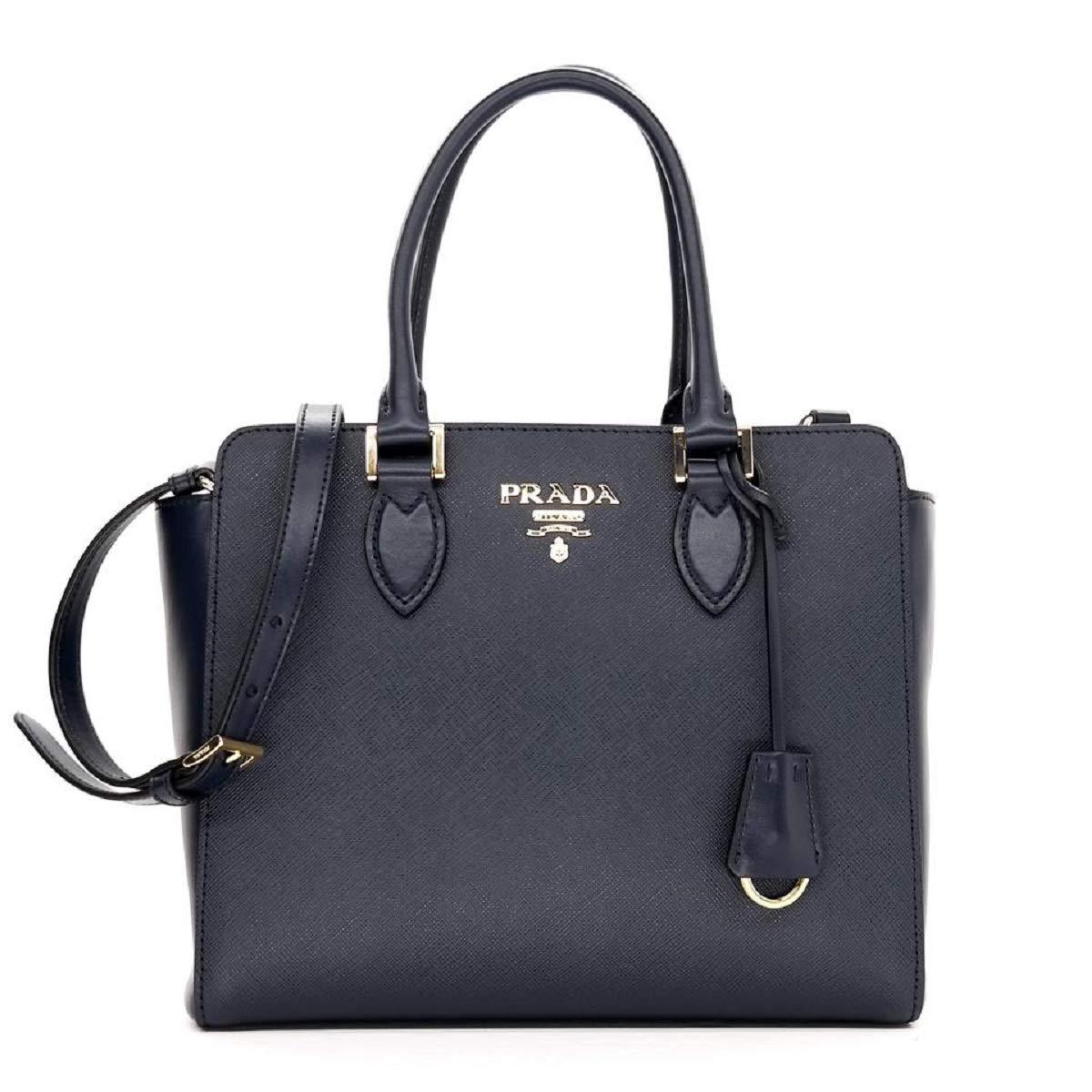 123066c32076 Prada Women's Navy Blue Saffiano Lux Leather Handbag 1BA118: Handbags:  Amazon.com