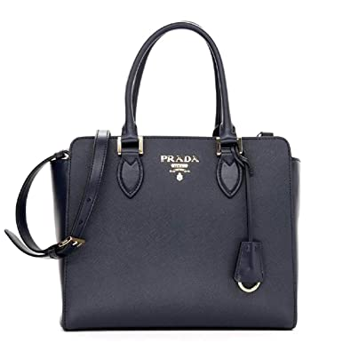 Prada Women s Navy Blue Saffiano Lux Leather Handbag 1BA118  Handbags   Amazon.com