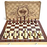 AGREATLIFE Wooden Chess Set: Universal Standard Wooden Chess Board Game Set - Handcrafted Wood Game Pieces, Pawns - 15-inch Board with Magnet Closure - Perfect Beginner Chess Set for Kids