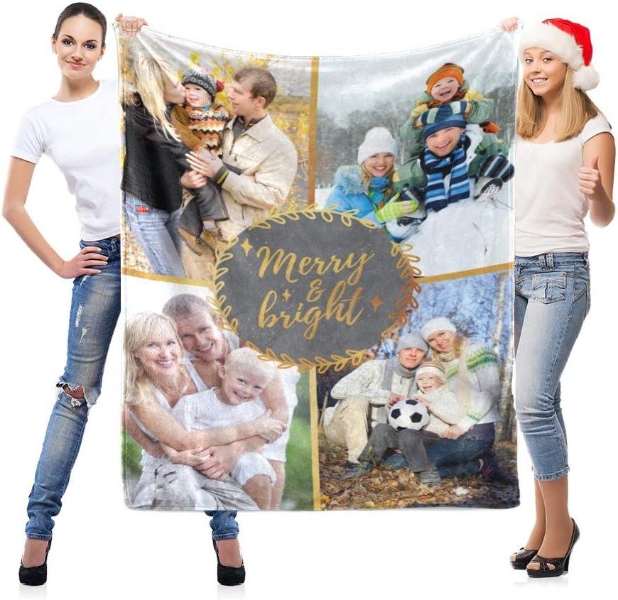 LNM Manta Personalizada con 4 Fotos Mantas Personalizadas Cumpleaños Boda Regalo del día de la Madre Imágenes Propias para Adulto Bebé Mascota,60