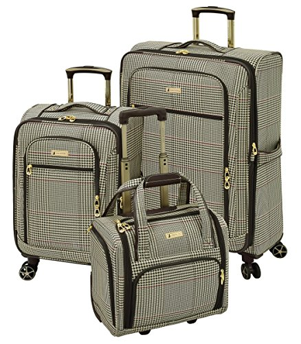 Sets Luggage Plaid (London Fog Softside 3 Piece Set, Brown Cream Houndstooth Plaid)