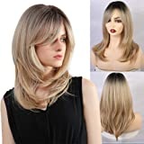 FORCUTEU Ombre Synthetic Wigs With Bangs For Women Blonde Long Wavye Wig Black To Blonde High Density Wigs Mixed Blonde…